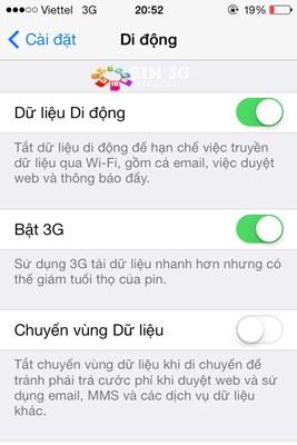 Cách bật/ tắt 3G trên điện thoại iPhone 5, 5S, 6, 6Plus 2