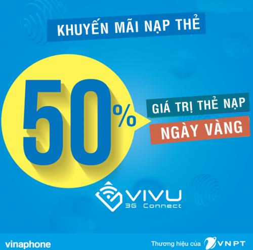 Khuyến mãi 50% Vinaphone ngày vàng