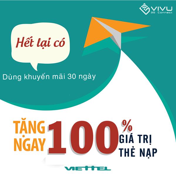 Khuyến mãi 100% thẻ nạp Viettel từ ngày 3 đến ngày 7/8