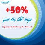 Vinaphone khuyến mãi 50% thẻ nạp theo danh sách