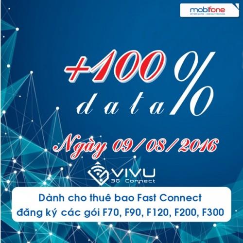 Mobifone khuyến mãi 100% data Fast Connect ngày 9/8