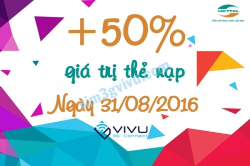 Viettel khuyến mãi 50% thẻ nạp ngày 31/8/2016