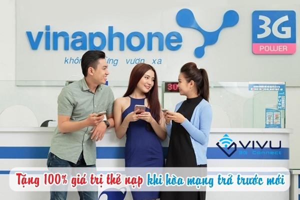 Vinaphone khuyến mãi 100% thẻ nạp cho thuê bao trả trước hòa mạng mới