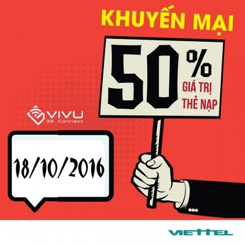 Viettel khuyến mãi 50% thẻ nạp ngày 18/10/2016