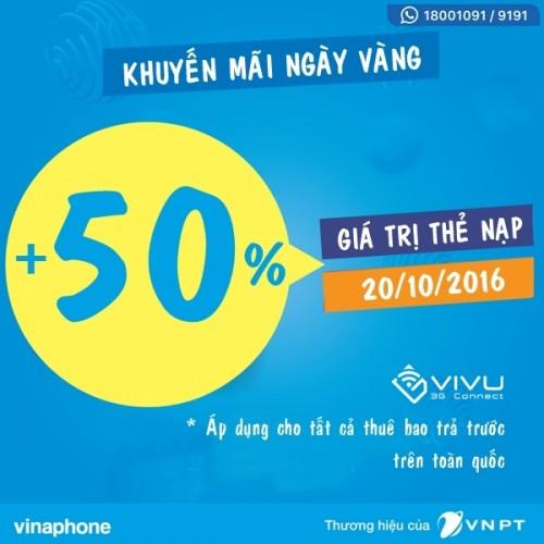 Vinaphone tặng 50% giá trị thẻ nạp ngày 20/10