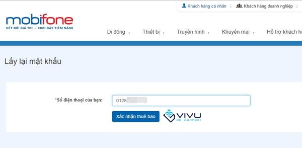 Hướng dẫn lấy lại mật khẩu tài khoản Mobifone Portal
