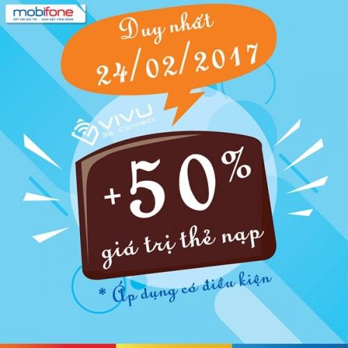 Mobifone khuyến mãi 50% giá trị nạp tiền ngày 24/2