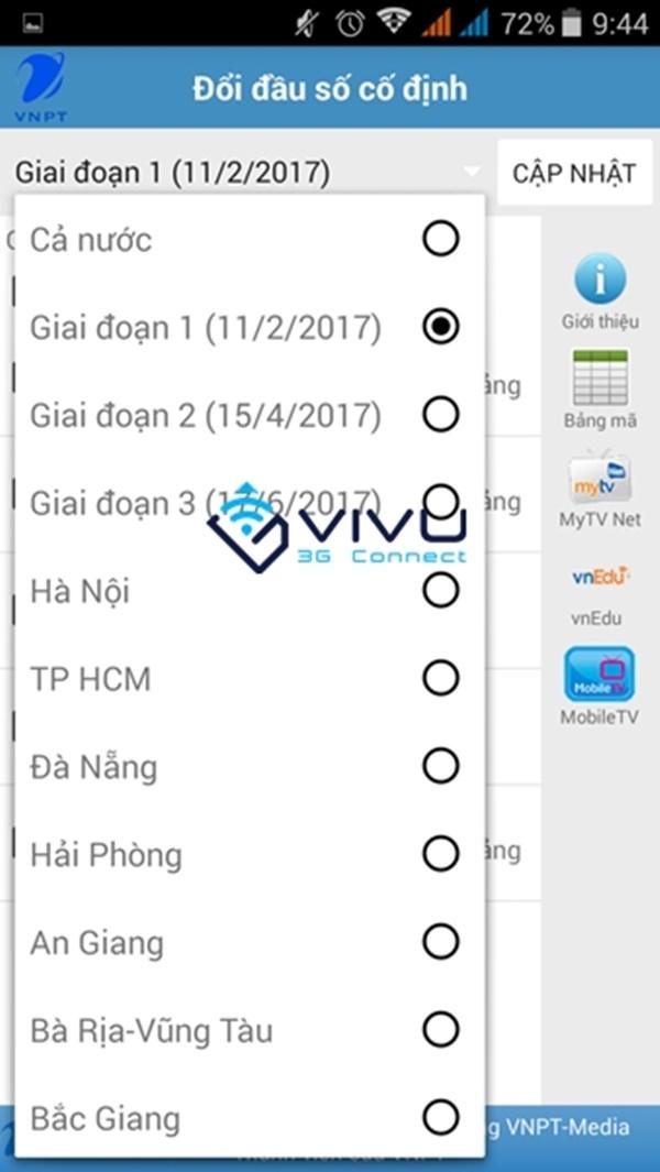 Ứng dụng VNPT Update Contacts cập nhật mã vùng điện thoại tự động
