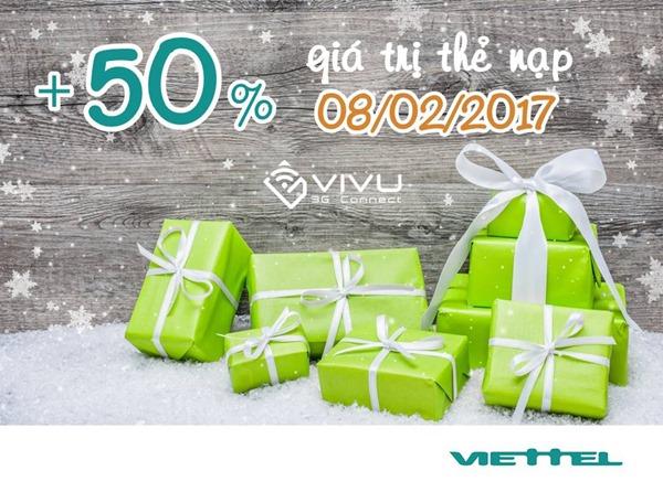 Viettel khuyến mãi 50% giá trị thẻ nạp ngày vàng 08/02