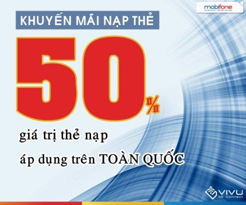 Khuyến mãi 50% Mobifone nạp thẻ toàn quốc
