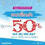 Khuyến mãi 50% thẻ nạp Vinaphone ngày vàng 9/5/2017