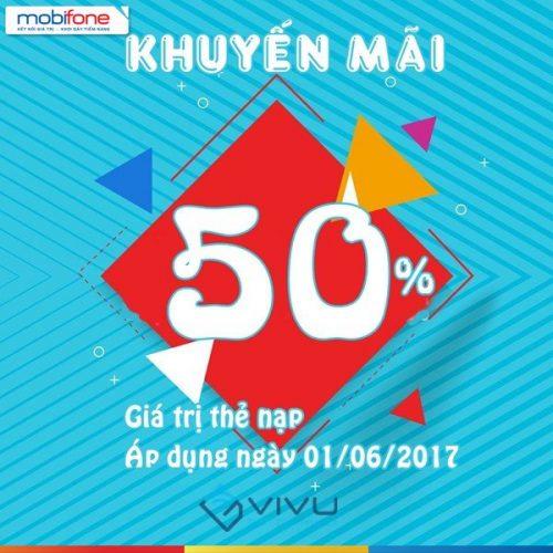 Mobifone KM 50% thẻ nạp ngày vàng 1/6/2017