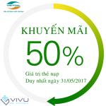 Khuyến mãi Viettel 50% ngày 31/5/2017 Toàn quốc