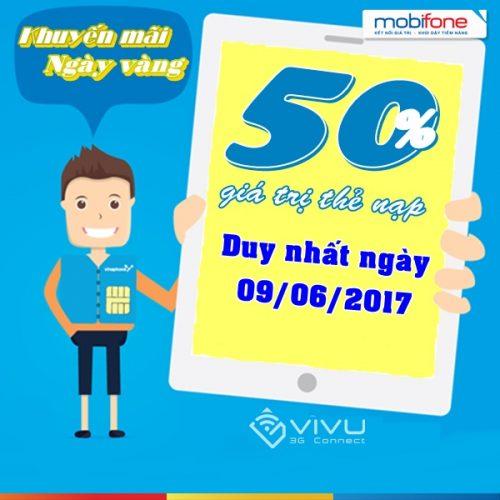 MobiFone khuyến mãi 50% giá trị thẻ nạp 9/6/2017