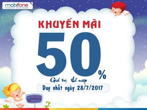 Mobifone khuyến mãi 50% thẻ nạp toàn quốc ngày 28/7/2017