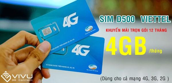 Sim 4G Viettel D500 ưu đãi 4GB mỗi tháng trọn gói 12 tháng lướt nét thả phanh