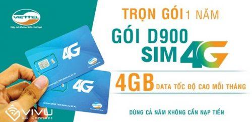 Sim 4G Viettel D900 ưu đãi 7GB/ tháng trọn gói, dùng 1 năm